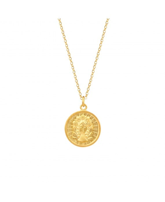 Colar Virgem em Prata Dourada