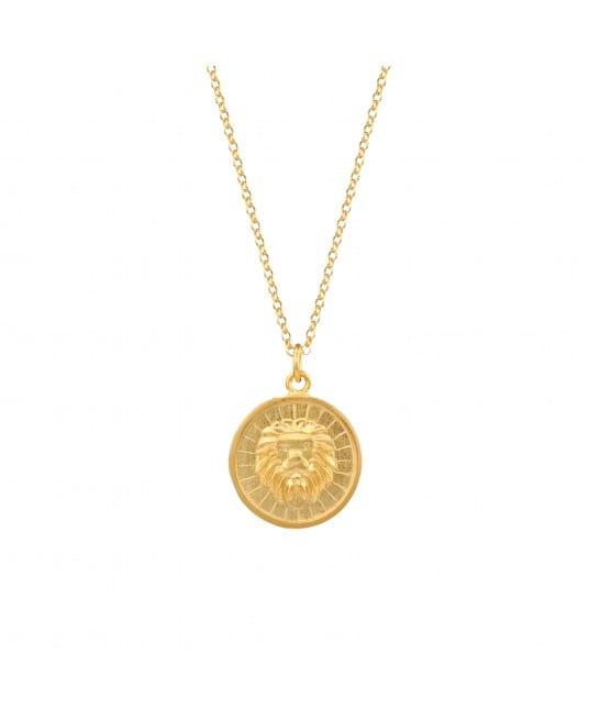 Colar Leão em Prata Dourada