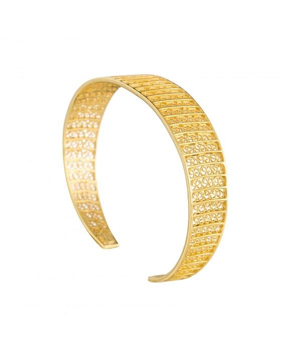 Pulseira Círculos 1,5 cm em Prata Dourada