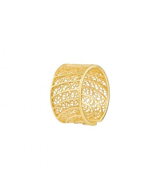 Anel Círculos em Filigrana 1,5 cm em Prata Dourada