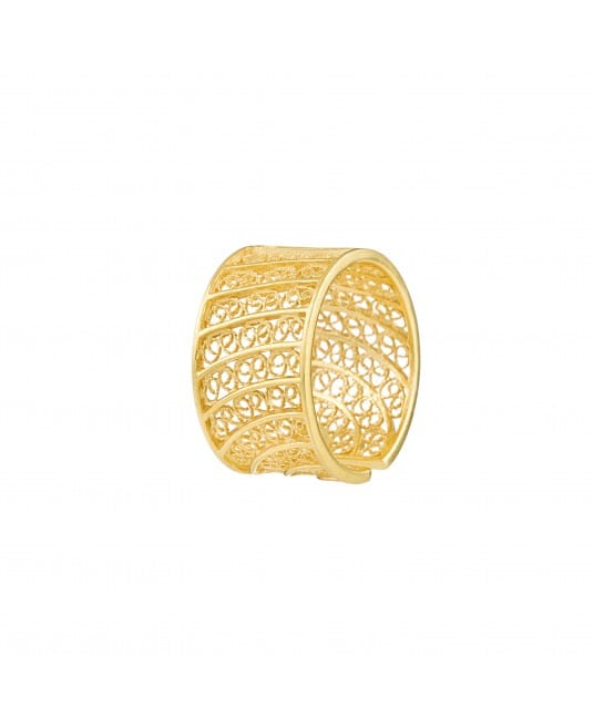 Ring Circles in Filigree 1,5 cm in Gold Plated Silver