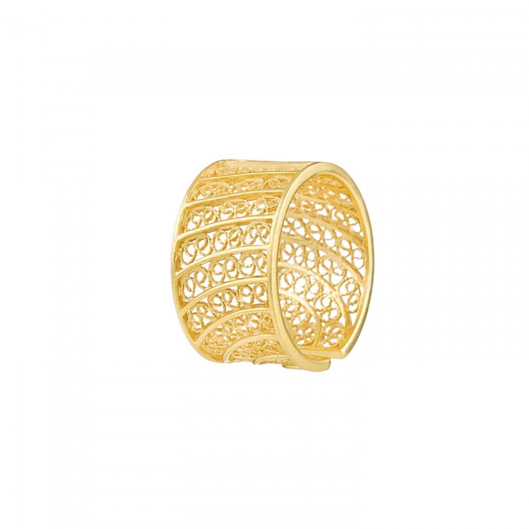 Anel Círculos em Prata Dourada