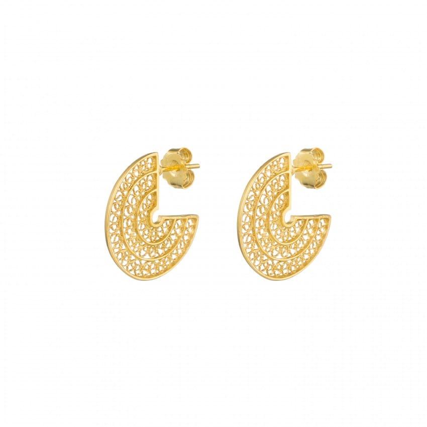 Brincos Círculo 2,0 cm em Prata Dourada