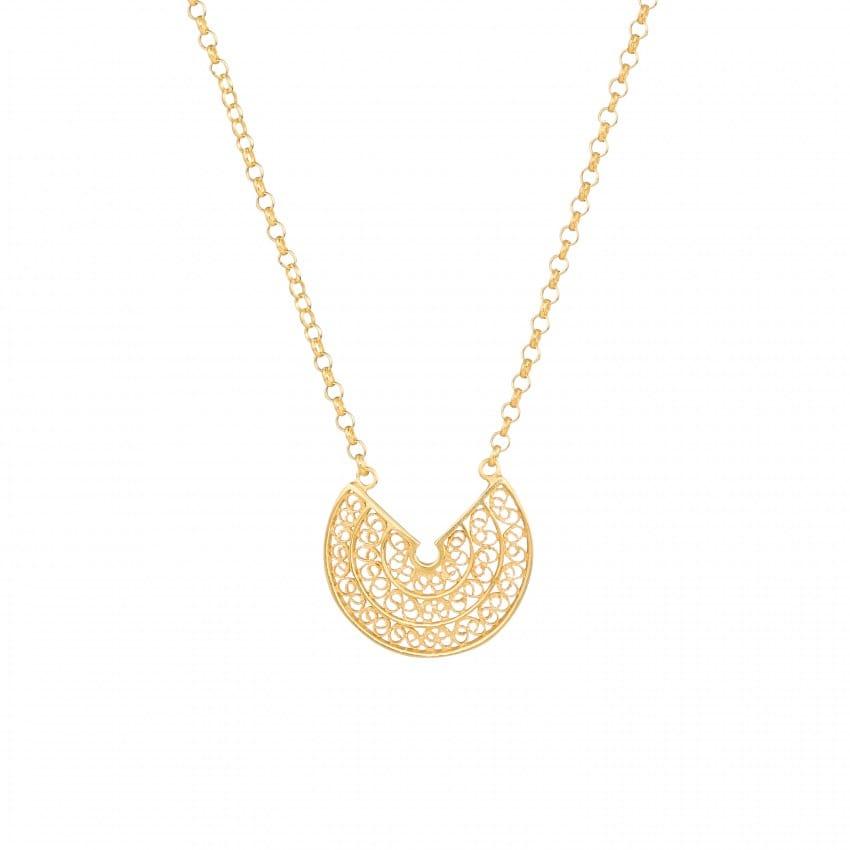 Colar Círculos 2,0 cm em Prata Dourada