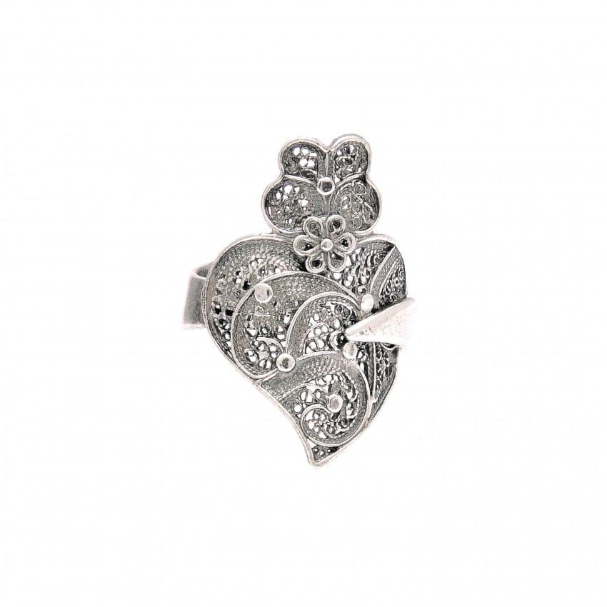 Anel Coração de Viana em Prata