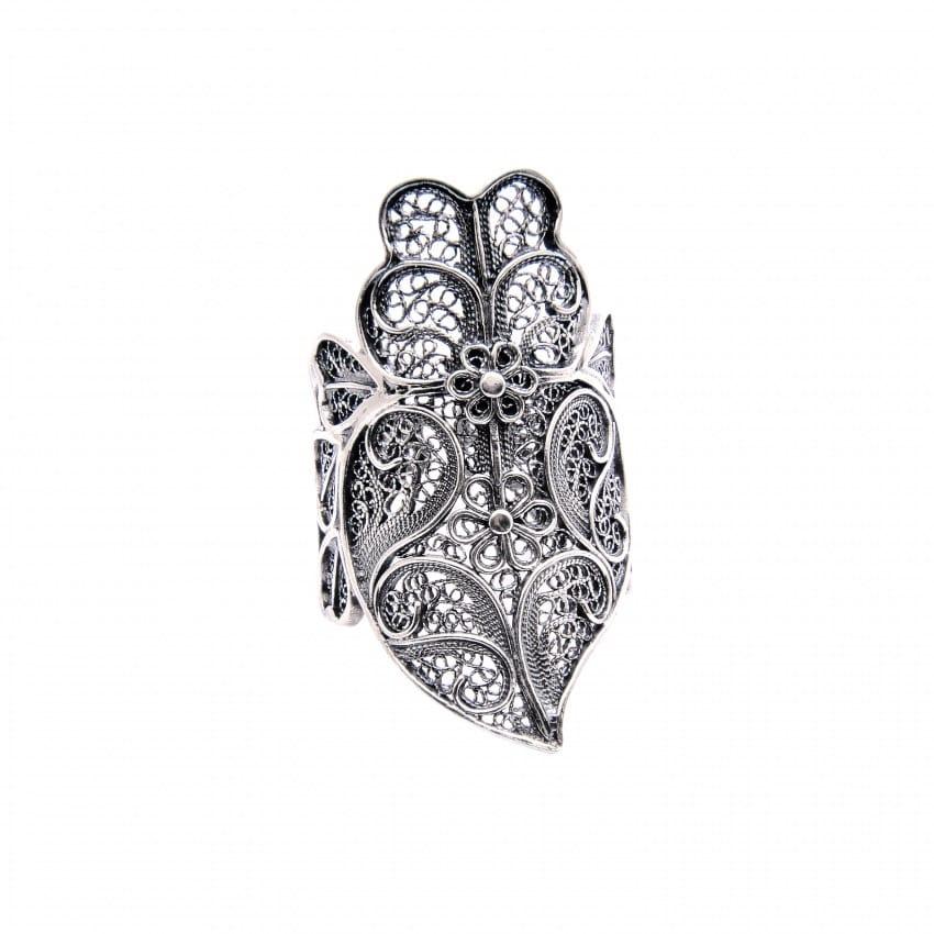 Anel Coração de Viana XL em Prata