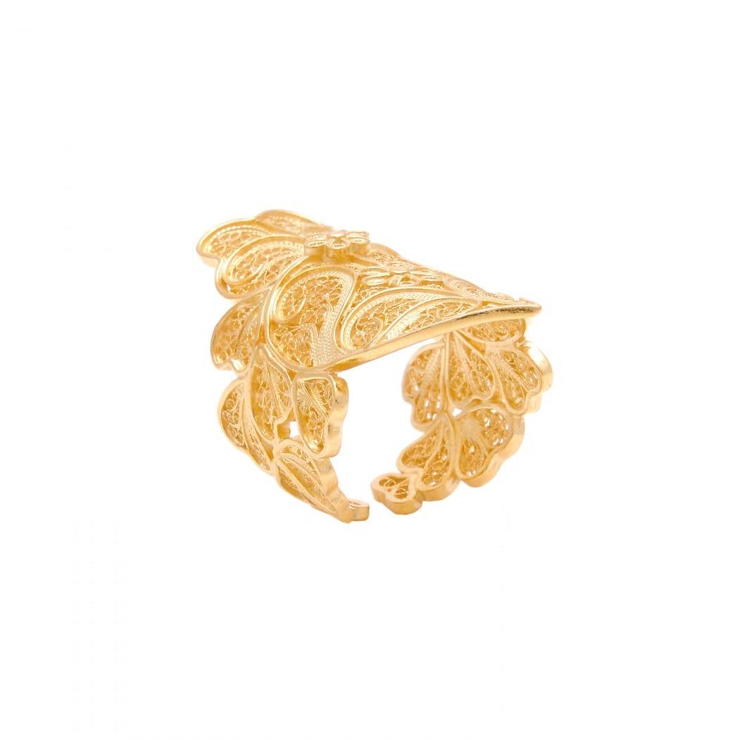 Anel Coração de Viana XL em Prata Dourada