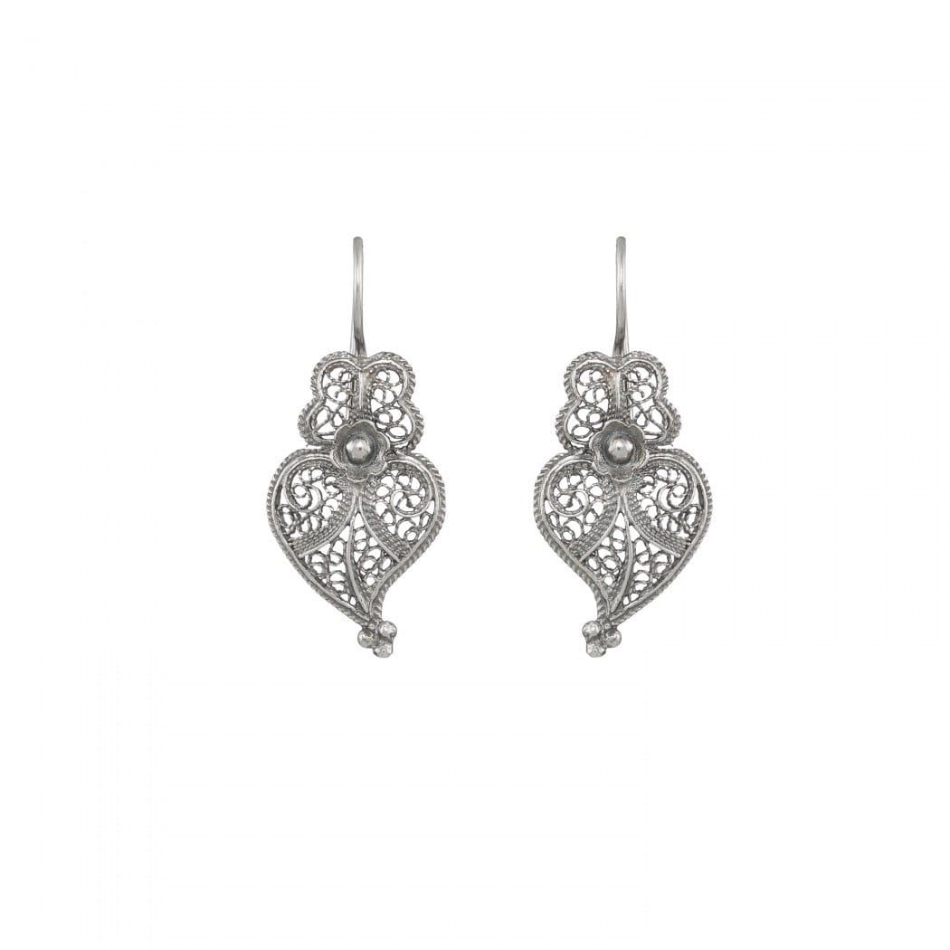Brincos Coração de Viana 2,5cm em Prata