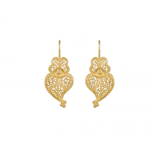 Earrings Heart of Viana 2,5cm in Gold Plated Silver