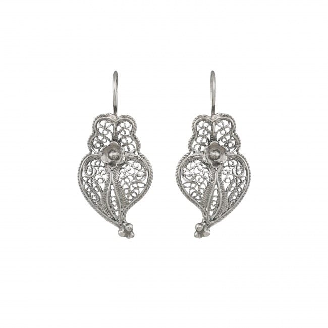 Earrings Heart of Viana 3,0cm in Silver