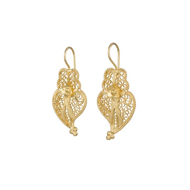 Earrings Heart of Viana 3,0cm in Gold Plated Silver