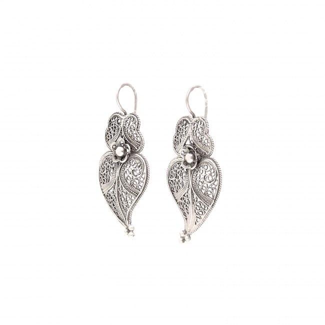 Brincos Coração de Viana 3,5cm em Prata