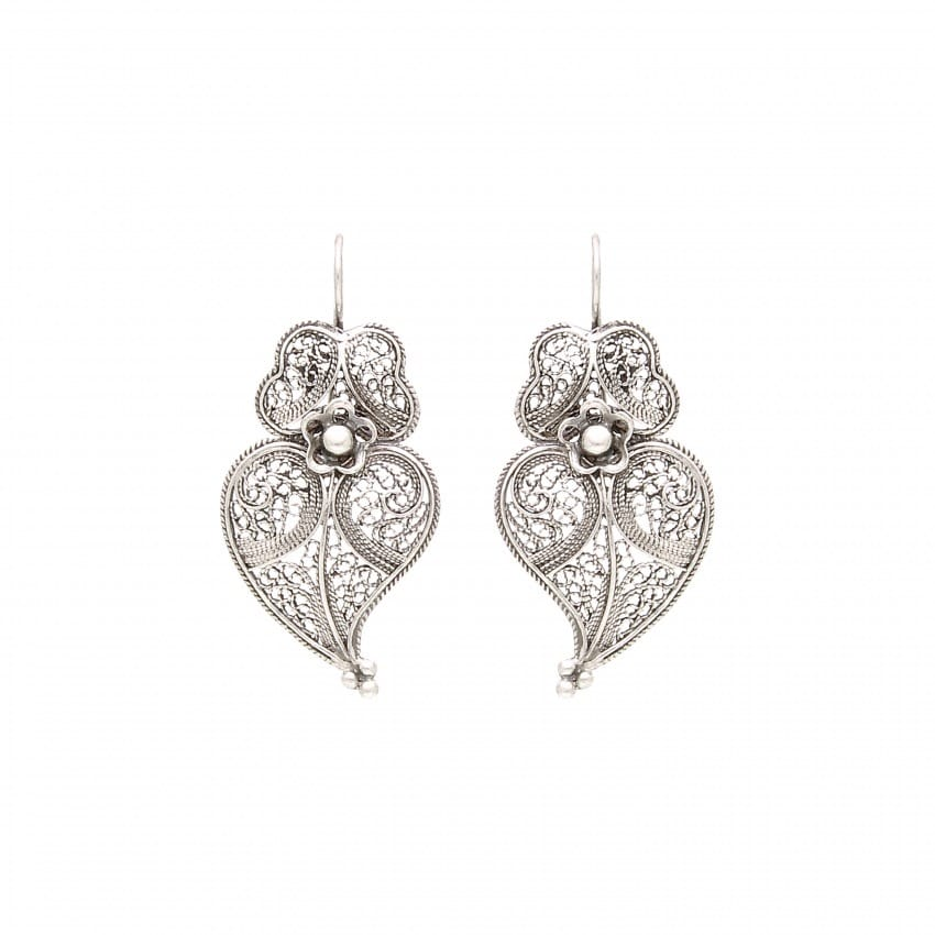 Earrings Heart of Viana 3,5cm in Silver