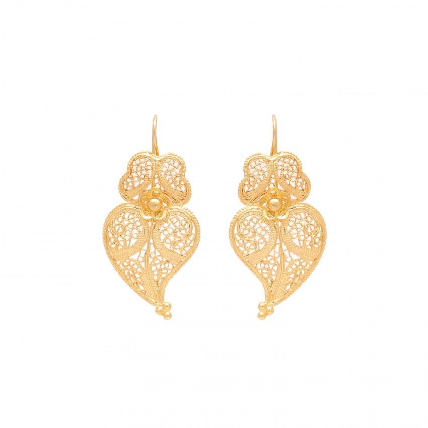 Earrings Heart of Viana 3,5cm in Gold Plated Silver