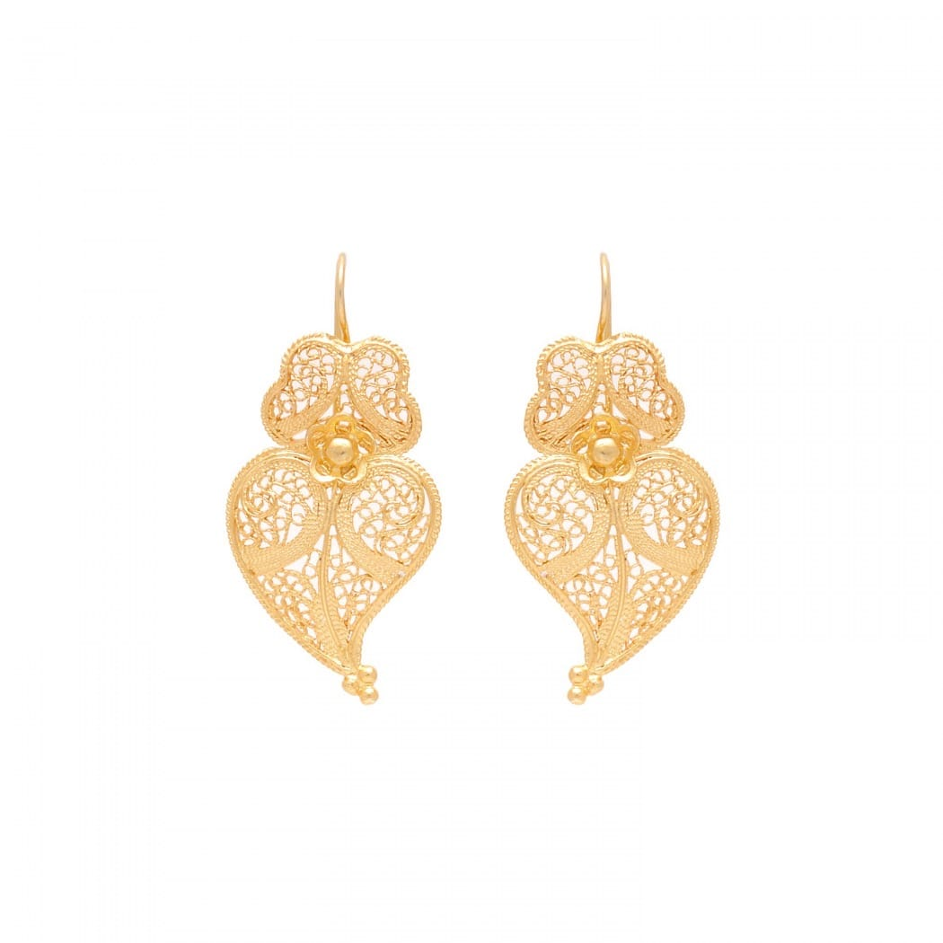 Brincos Coração de Viana 3,5cm em Prata Dourada