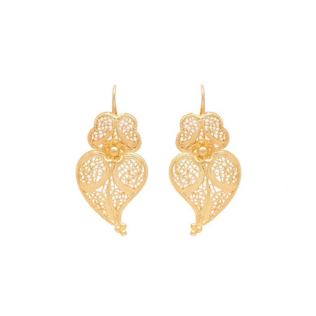 Earrings Heart of Viana 3,5cm in Gold Plated Silver