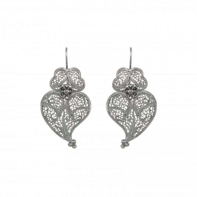 Earrings Heart of Viana 4,0cm in Silver