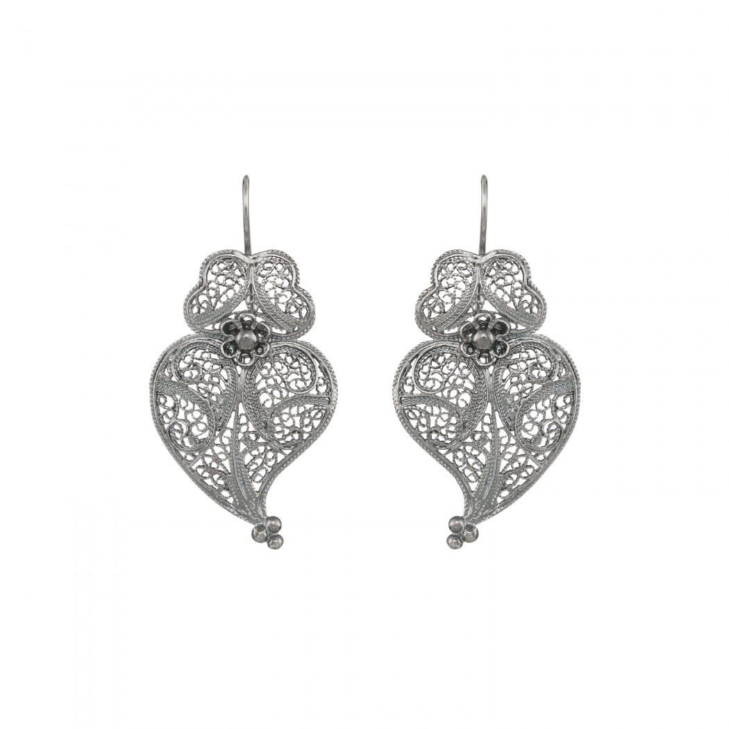 Brincos Coração de Viana 4,0cm em Prata