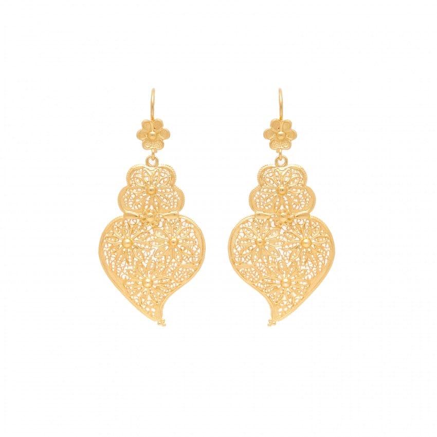 Brincos Coração de Viana Ciclo em Prata Dourada