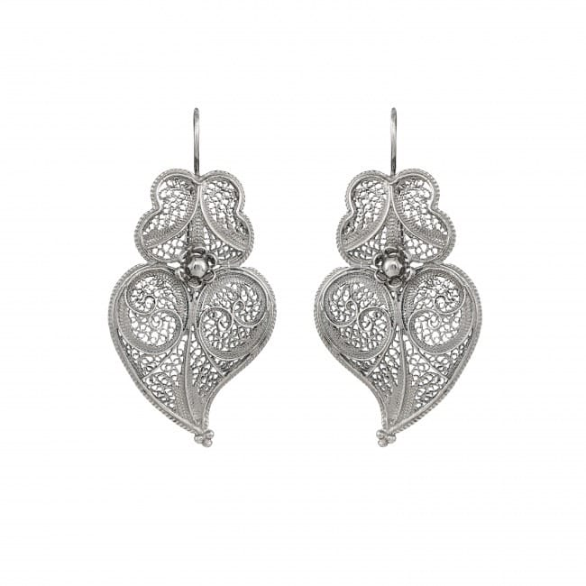 Earrings Heart of Viana 4,5 cm in Silver