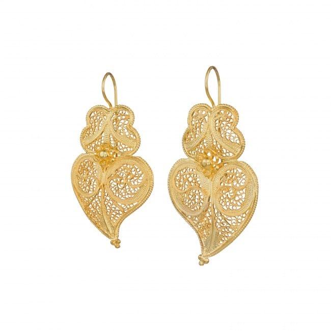 Brincos Coração de Viana 4,5cm em Prata Dourada
