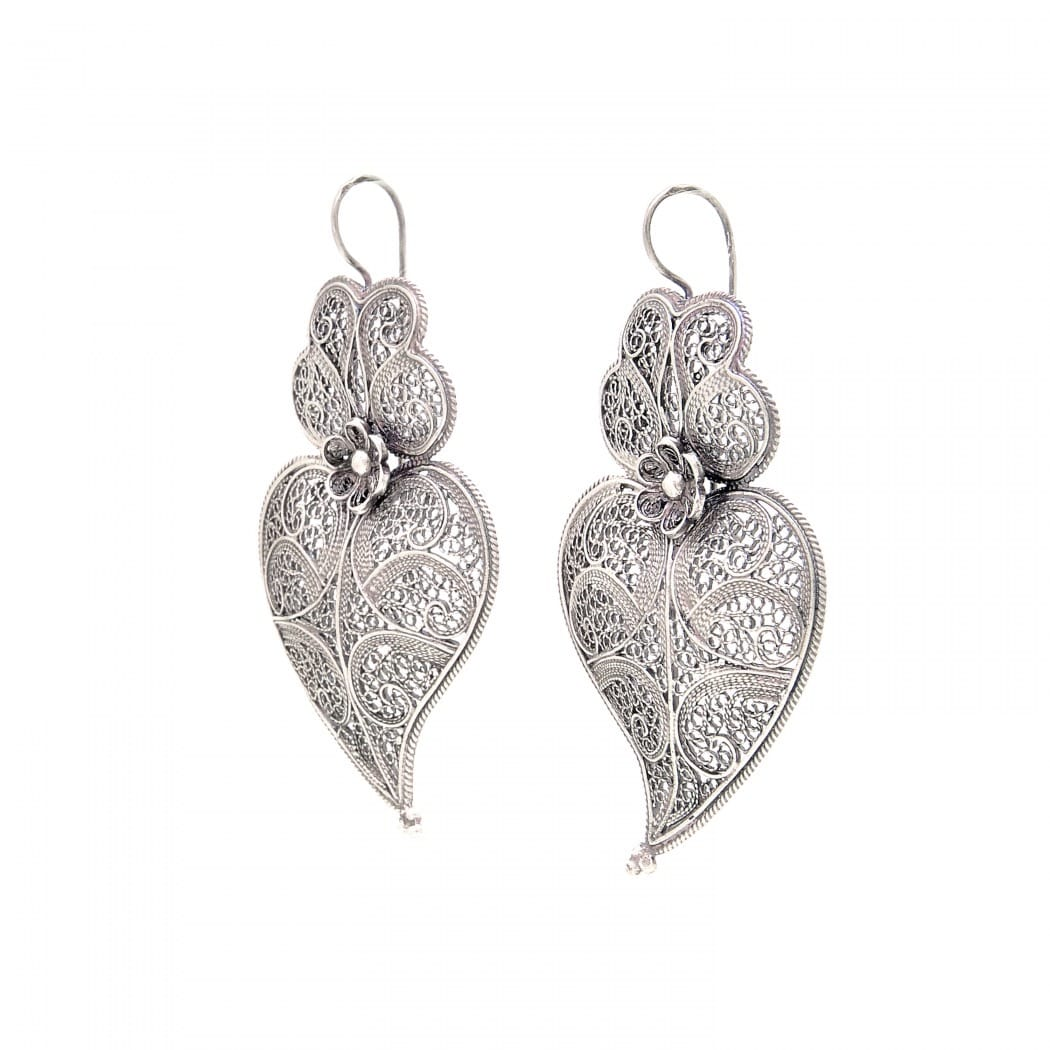 Earrings Heart of Viana 5,5cm in Silver