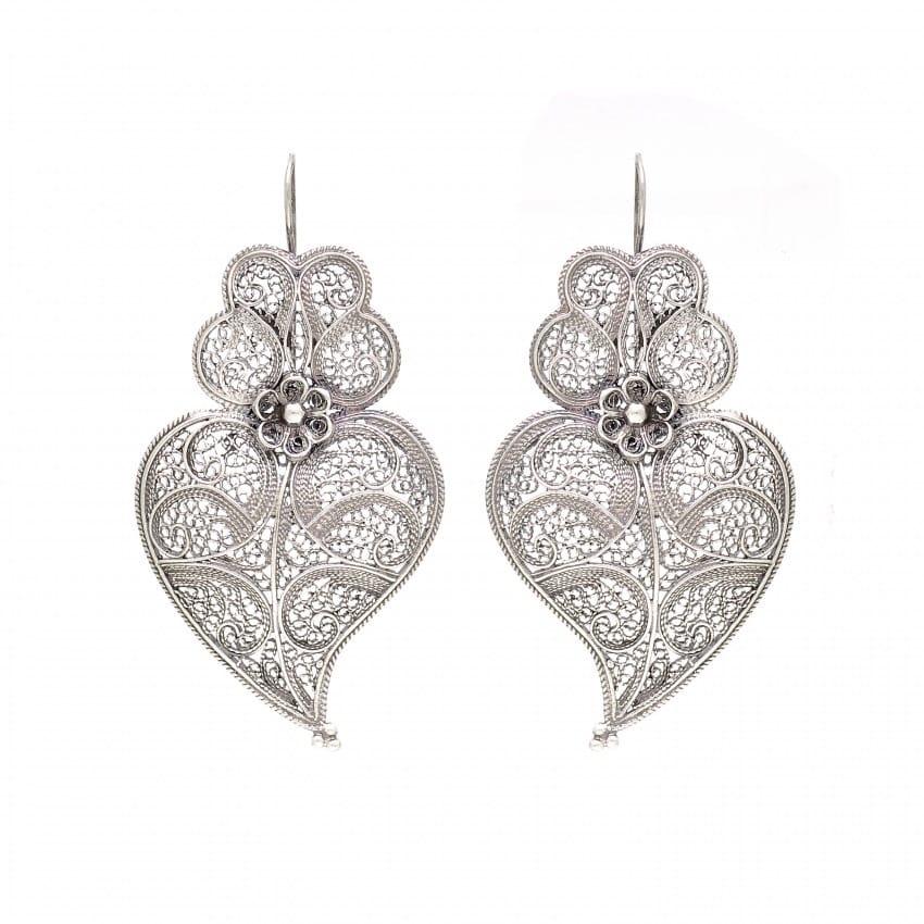 Brincos Coração de Viana 5,5cm em Prata