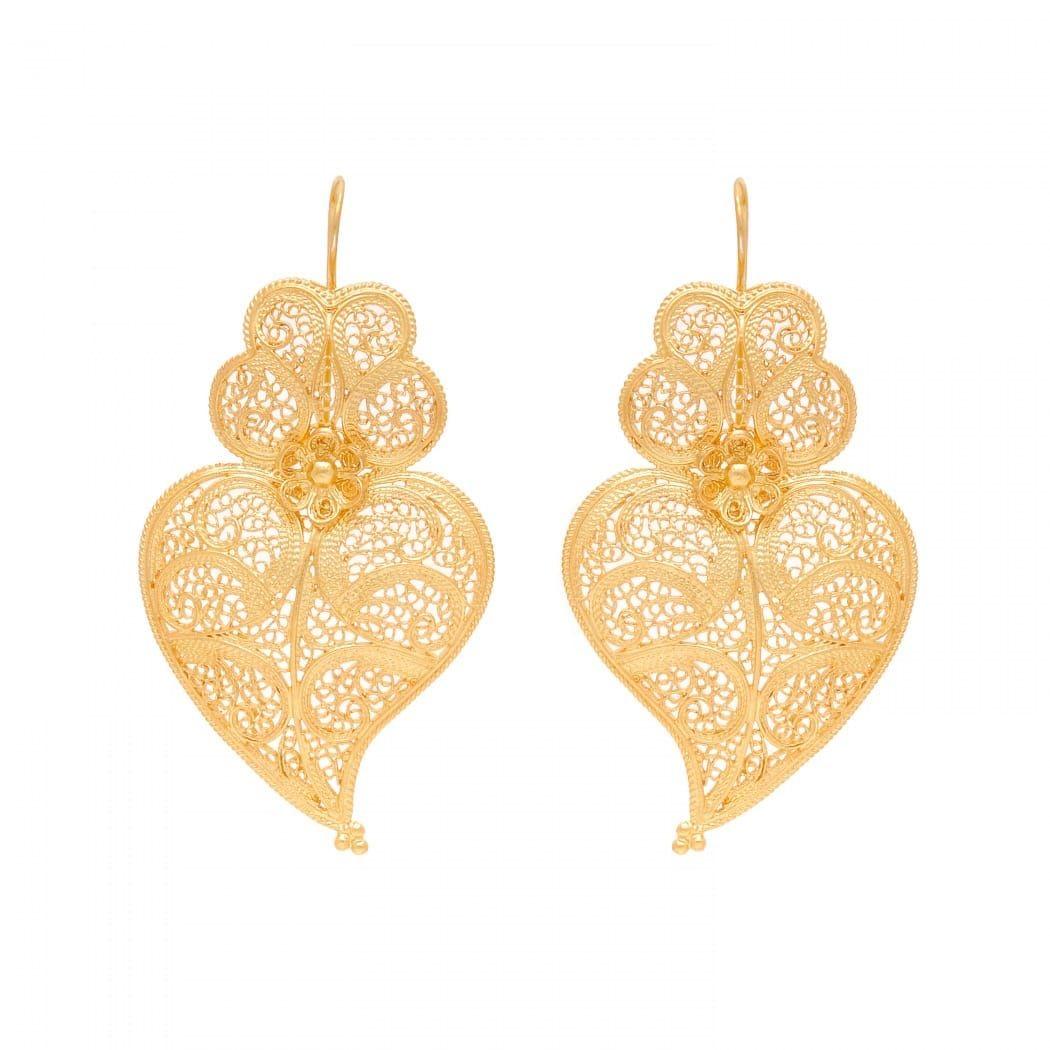 Earrings Heart of Viana 5,5cm in Gold Plated Silver