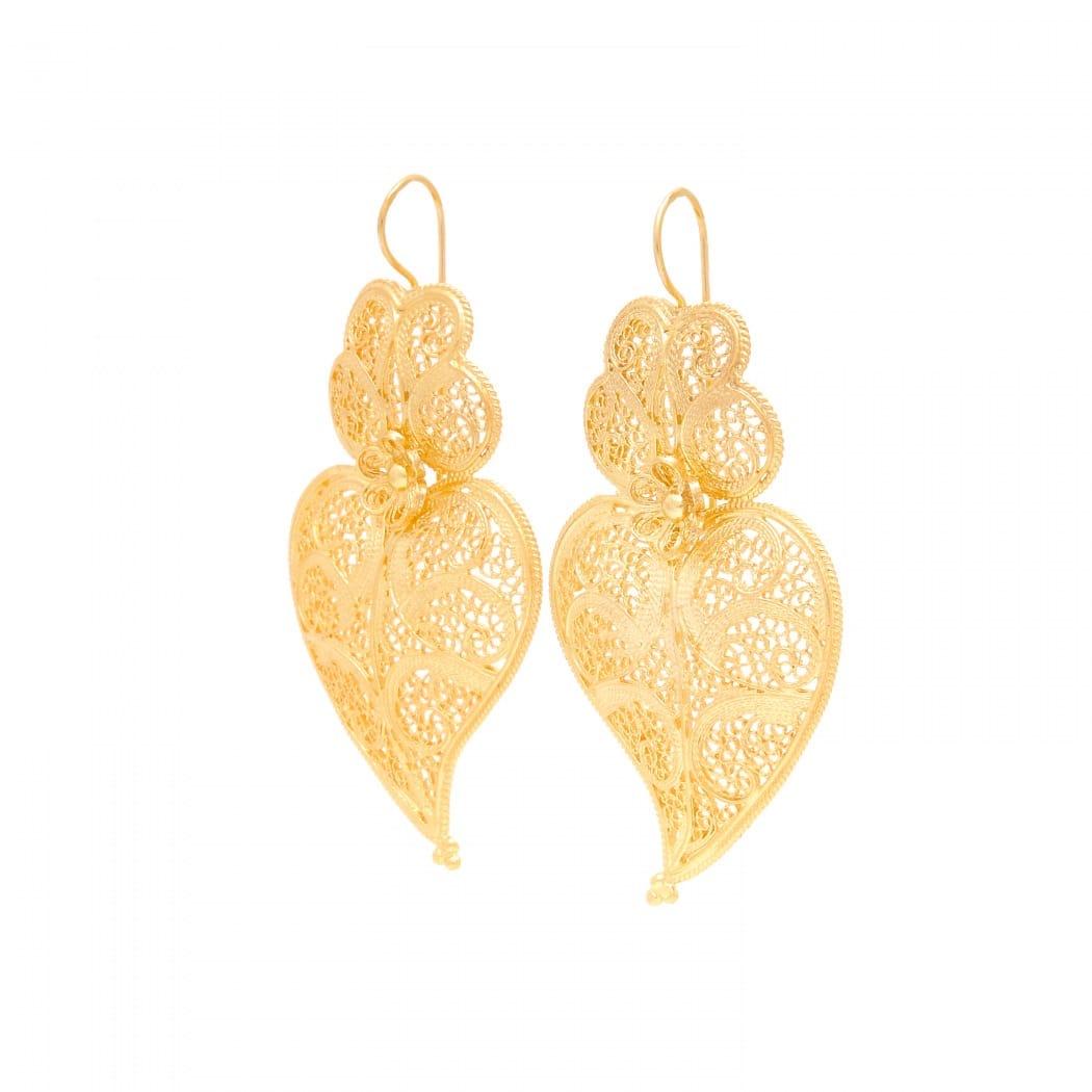Brincos Coração de Viana 5,5cm em Prata Dourada