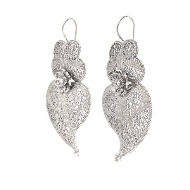 Brincos Coração de Viana 6,0cm em Prata