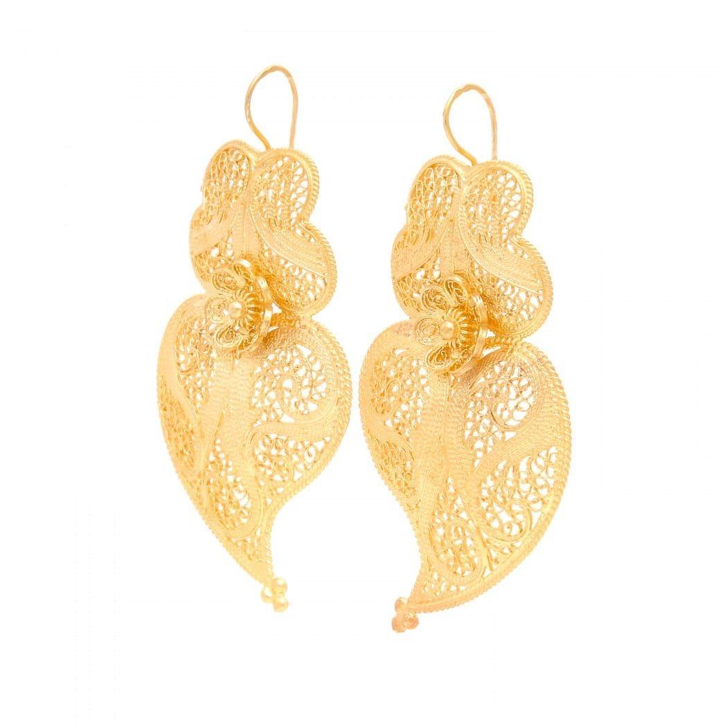 Brincos Coração de Viana 6,0cm em Prata Dourada