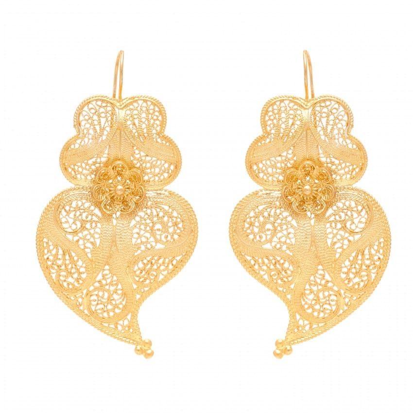 Earrings Heart Viana 6,0cm in Gold Plated Silver