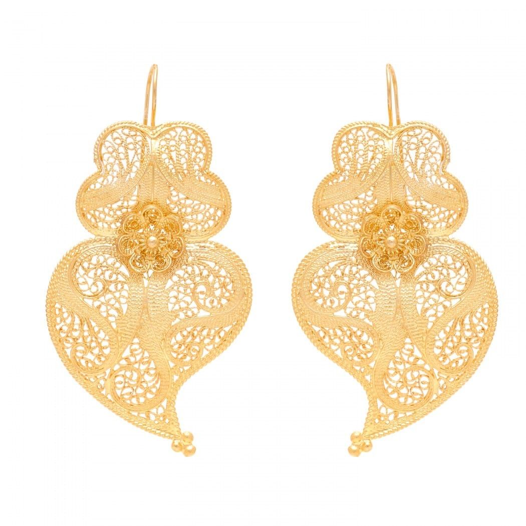 Earrings Heart Viana 6,0cm in Gold Plated Silver
