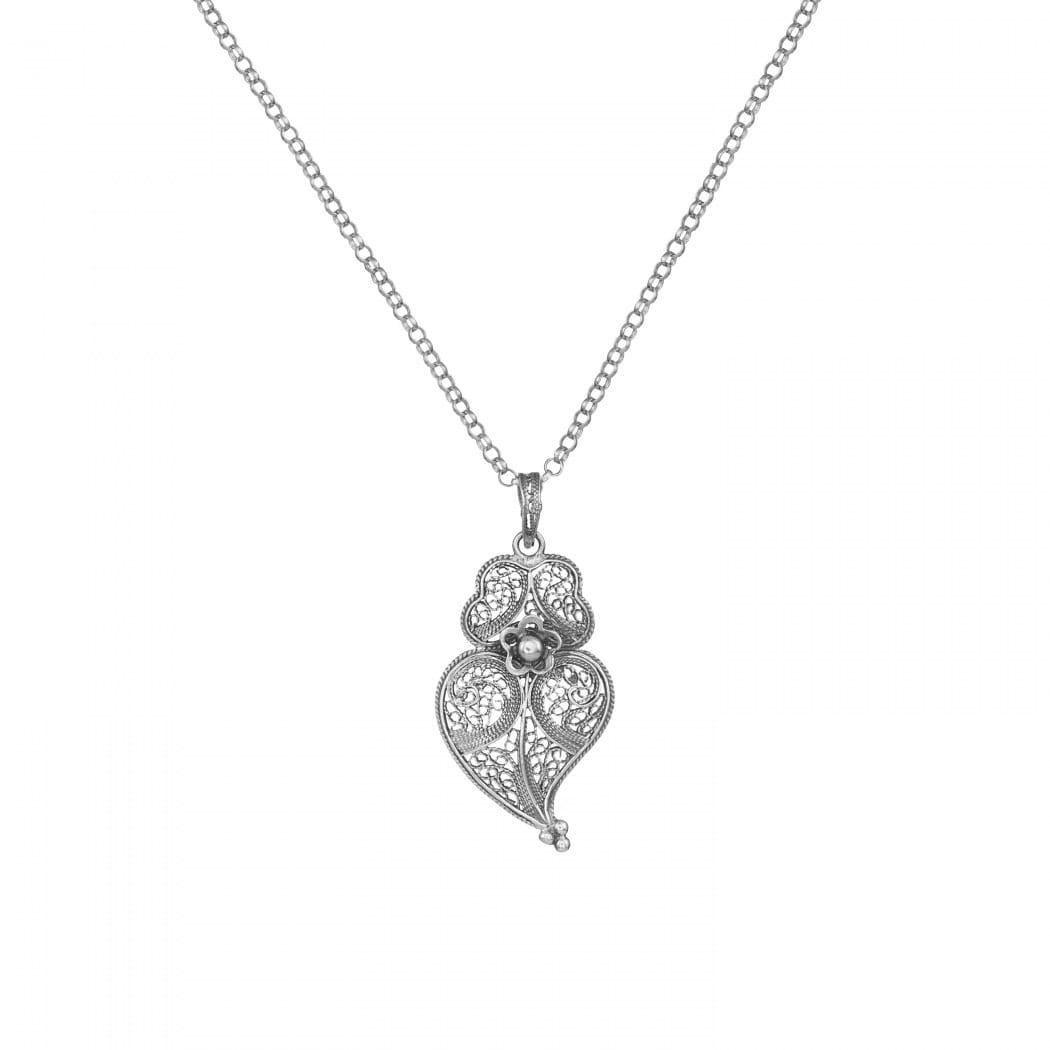 Colar Coração de Viana 3,5cm em Prata