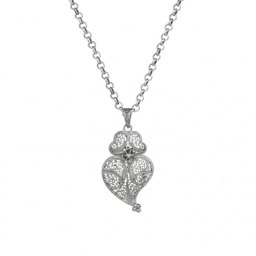 Colar Coração de Viana 4,0 cm em Prata