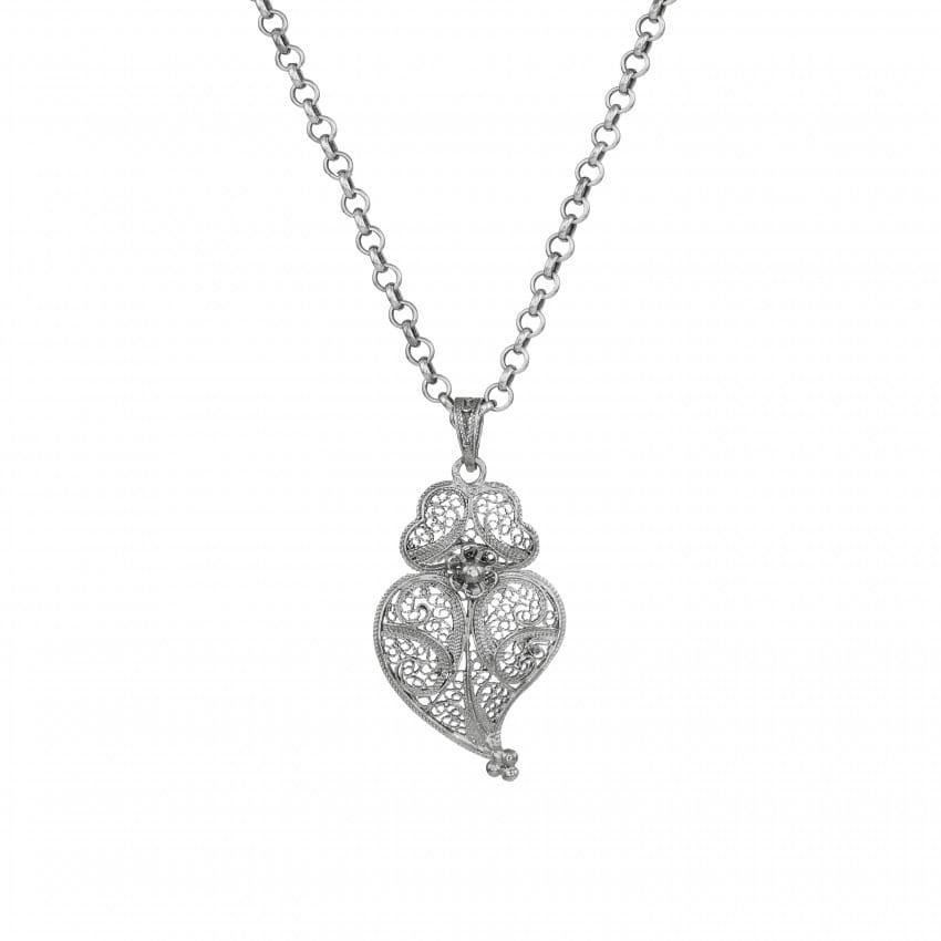 Necklace Heart of Viana 4,0 cm in Silver