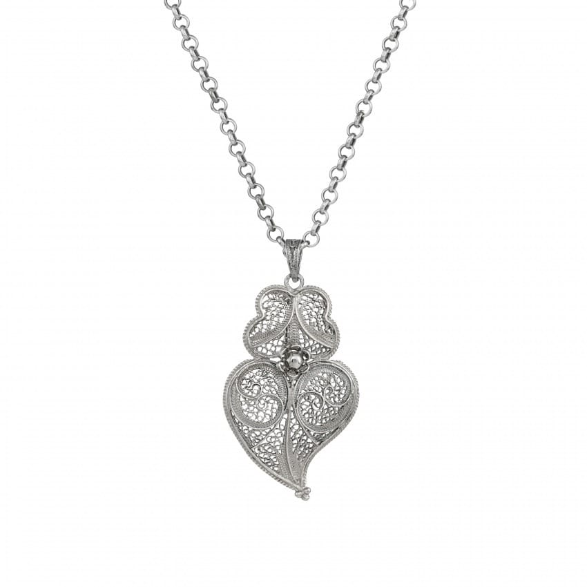 Colar Coração de Viana 4,5 cm em Prata