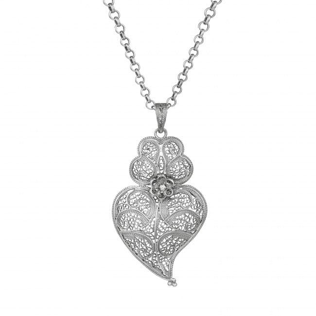 Colar Coração de Viana 6,0 cm em Prata