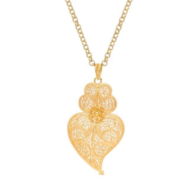 Colar Coração de Viana 5,5 cm em Prata Dourada