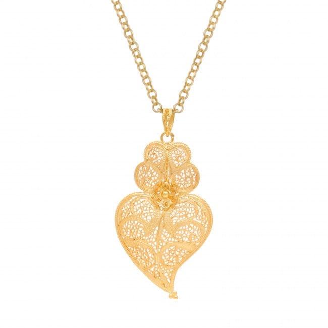 Colar Coração de Viana 5,5cm em Prata Dourada