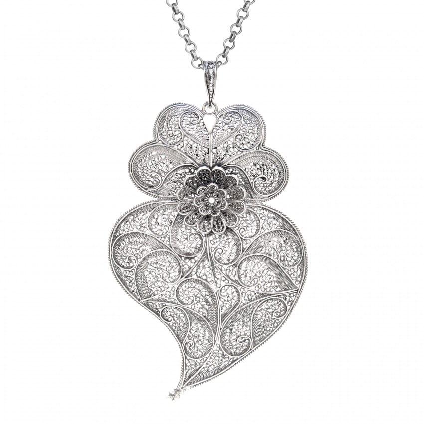 Colar Coração de Viana XL em Prata