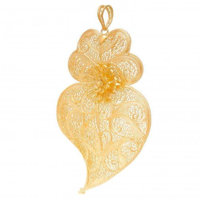 Colar Coração de Viana XL em Prata Dourada