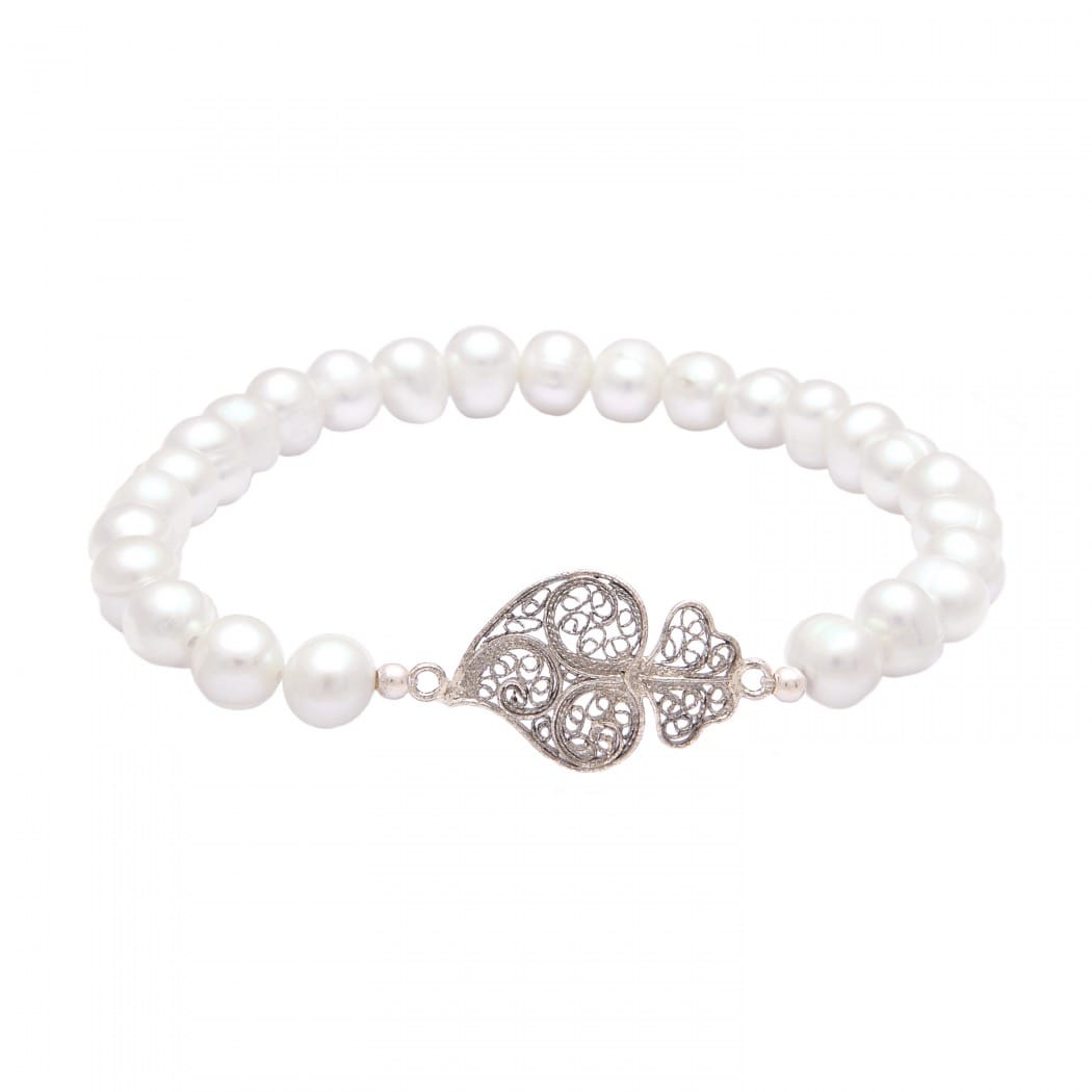 Bracelet Heart of Viana in Silver and Pearls