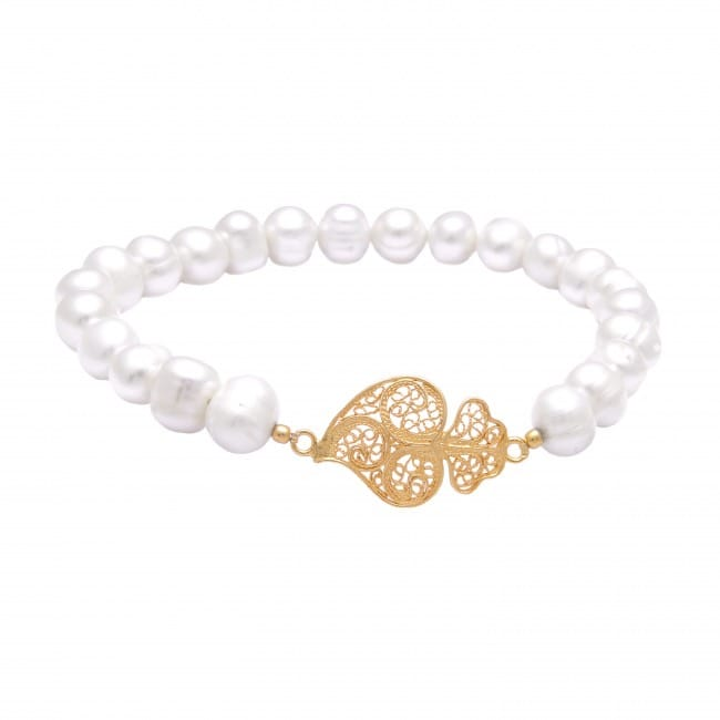 Bracelet Heart of Viana in Gold Plated Silver and Pearls