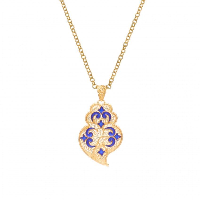 Colar Coração de Viana Azulejo em Prata Dourada