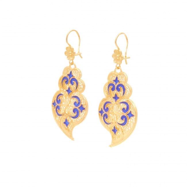 Brincos Coração de Viana Azulejo em Prata Dourada