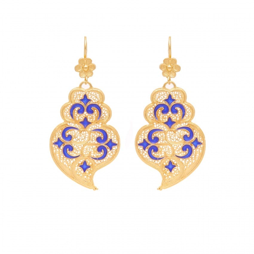 Earrings Heart of Viana Azulejo in Gold Plated Silver