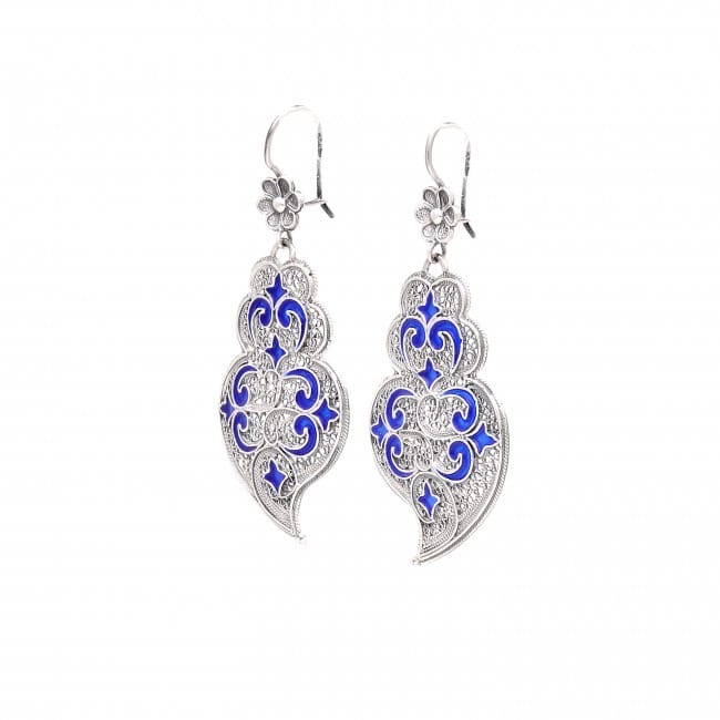 Earrings Heart of Viana Azulejo in Silver