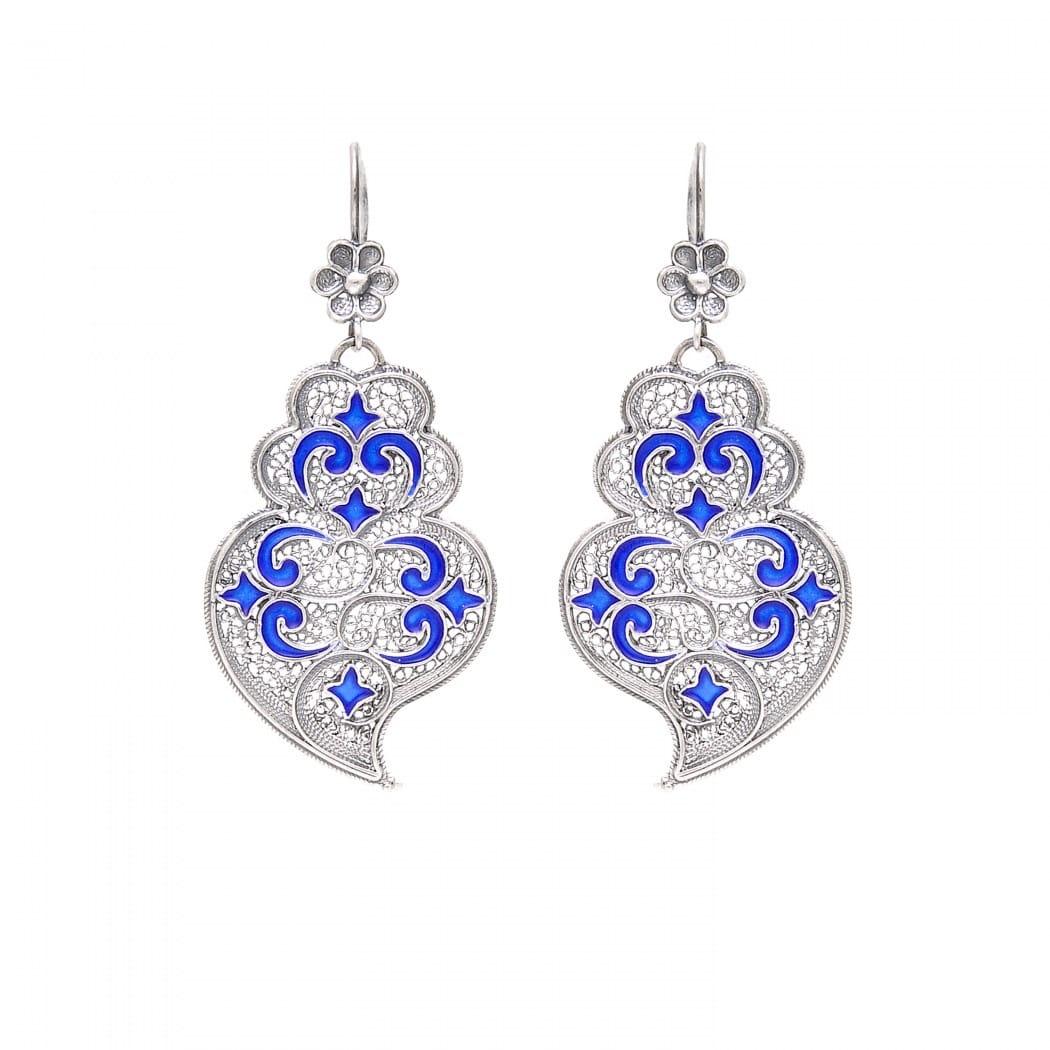 Brincos Coração de Viana Azulejo em Prata
