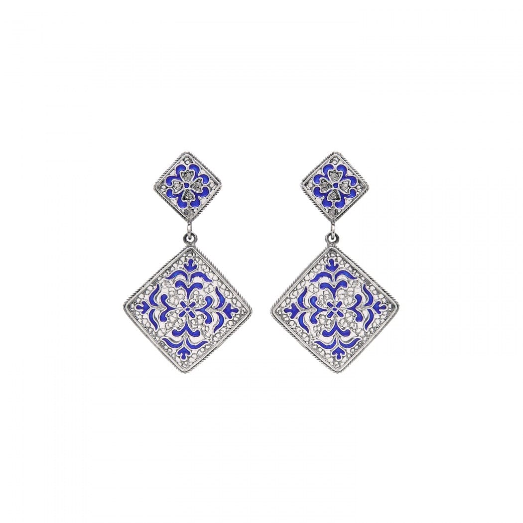 Earrings Azulejo in Silver